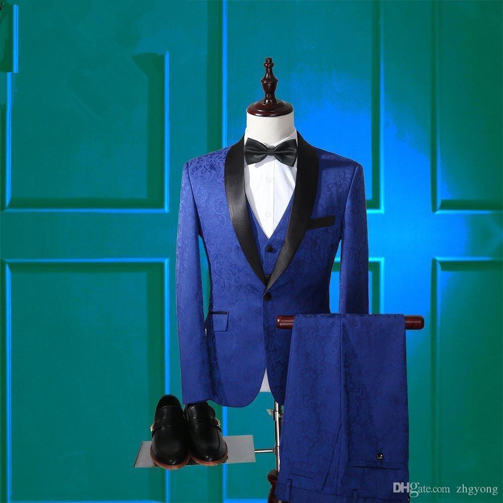 (giacca + pant + gilet) maschio 3 pezzi set moda sottile costumi host fase cappotto blu pantaloni vestito stile coreano vestito pieno di alta qualità per cantante