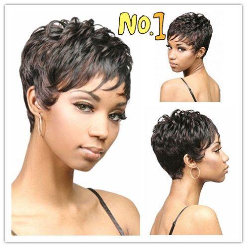 Xiu Zhi Mei Curto pixie corte estilo Afro peruca para as mulheres preto Sintética peruca afro-americana com franja