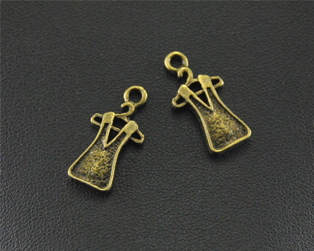 30pcs bronzo antico gonna fascino fai da te collana braccialetto creazione di gioielli 19x7mm a1450