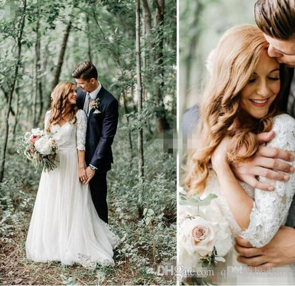 Modest Backless Country Forest Sheath Wedding Dresses Long Sleeves V Neck Floor Long Lace Chiffon 2020 Cheap Bohemian Bridal Gowns Plus Siz