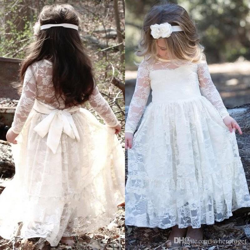 Pays Dentelle Fleur Robes De Fille De Mariage Joyeux Manches Longues Etage Longueur Sainte Robes De Première Communion Pour Petites Filles Pageant Robe