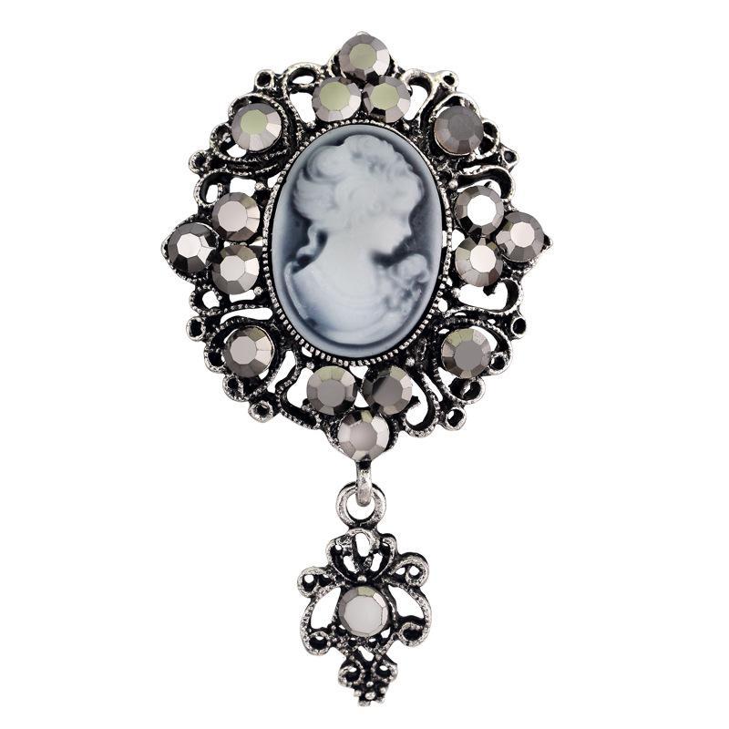 Moda oro antico colore argento spilla femminile spilla gioielli donna regina cammeo spille di strass per le donne regalo di natale