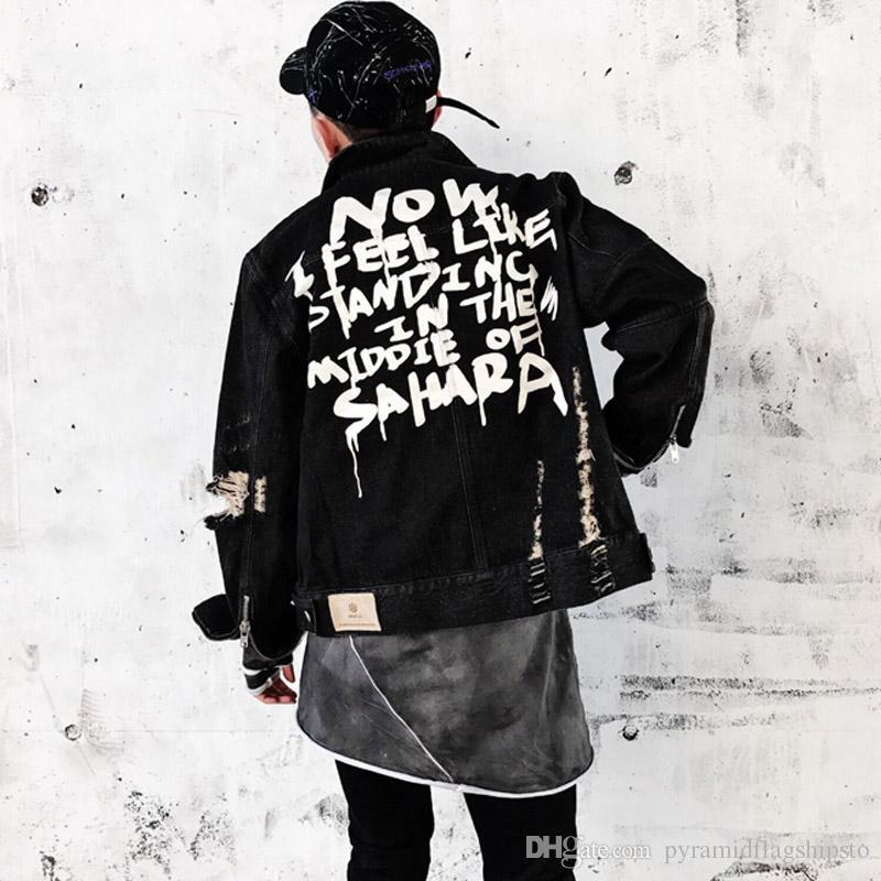 Graffiti Front Men Women Wash chaqueta de mezclilla de agua Male High Street Hiphop Destroy Hole Denim Coat Loose Jean Jacket