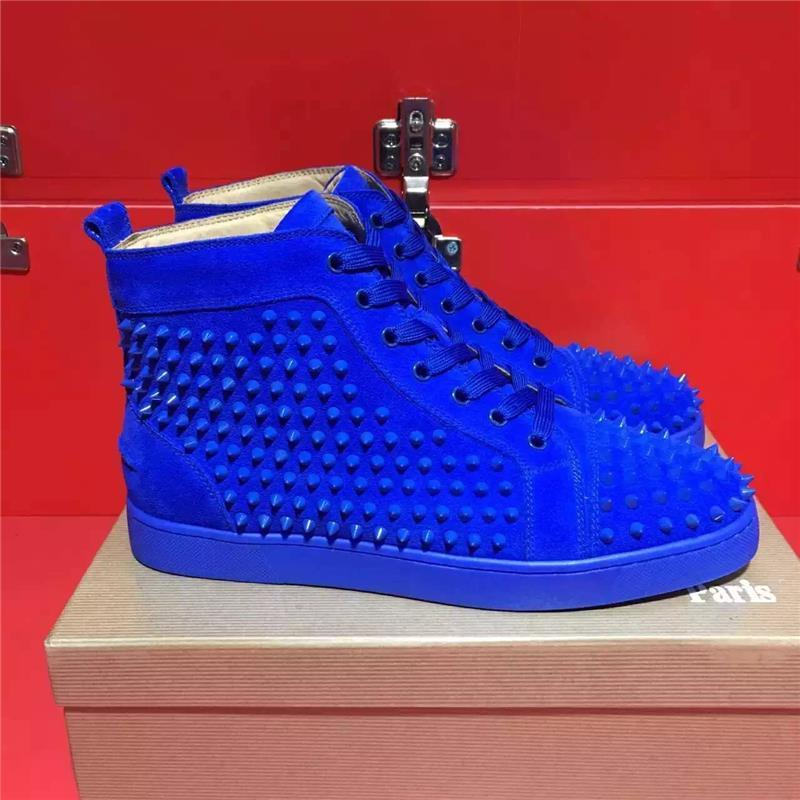 Blue Shoes Red Bottoms High Top Studded
