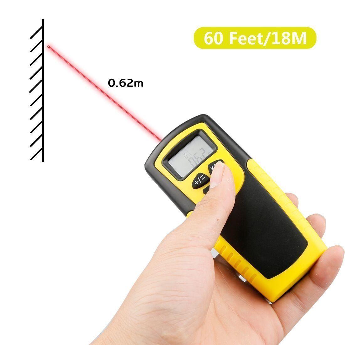 LCD de mano Medidor de distancia ultras/ónico Medici/ón Cinta m/étrica electr/ónica Medidor de distancia ultras/ónico con gran pantalla LCD con retroiluminaci/ón LED.