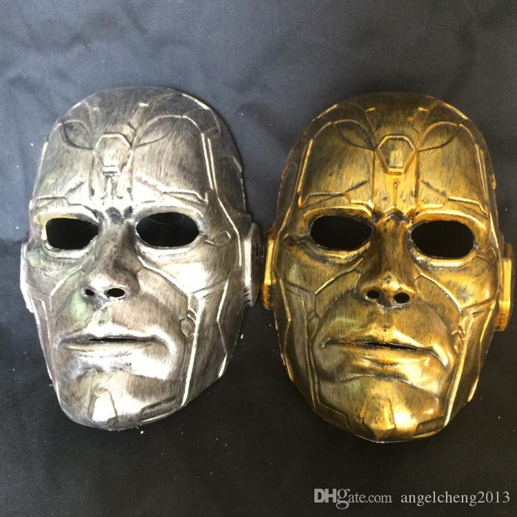 Retro Vintage Stone Man Full Head Mask Halloween Masquerade Costume Mask Cosplay 2 Clour (Gold and SIlver)