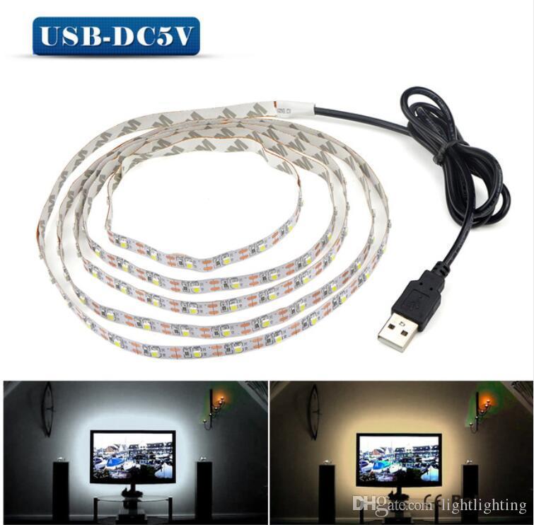5 V 50 CM 1 M 2 M 3 M 4 M 5 M USB Kablosu Güç LED şerit işık lambası SMD 3528 Noel masa Dekor Için lamba bant TV Arka Plan Aydınlatma