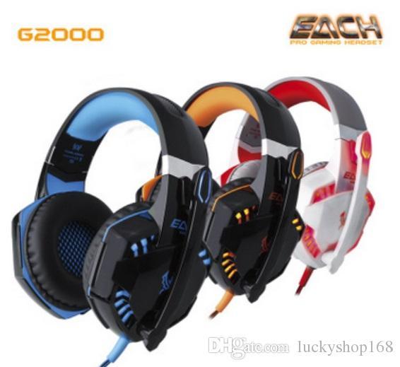 Yeni HER G2000 Derin Bas Kulaklık Stereo Aşırı Kulak Gaming Headset Kafa Kulaklık PC için Işık ile LOL Oyun