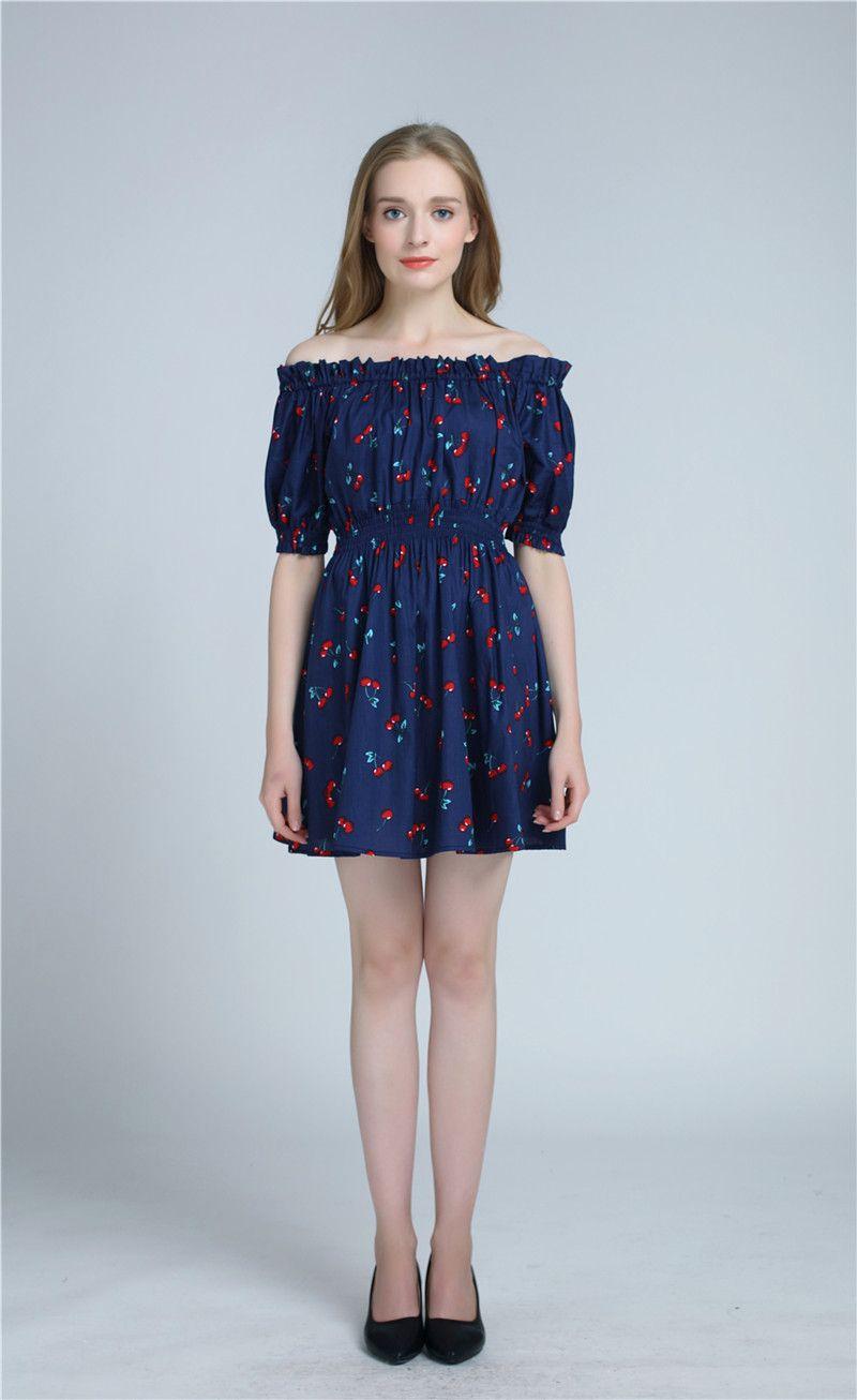 2017 new summer women fashion cherry Maxi long occasional summer ...