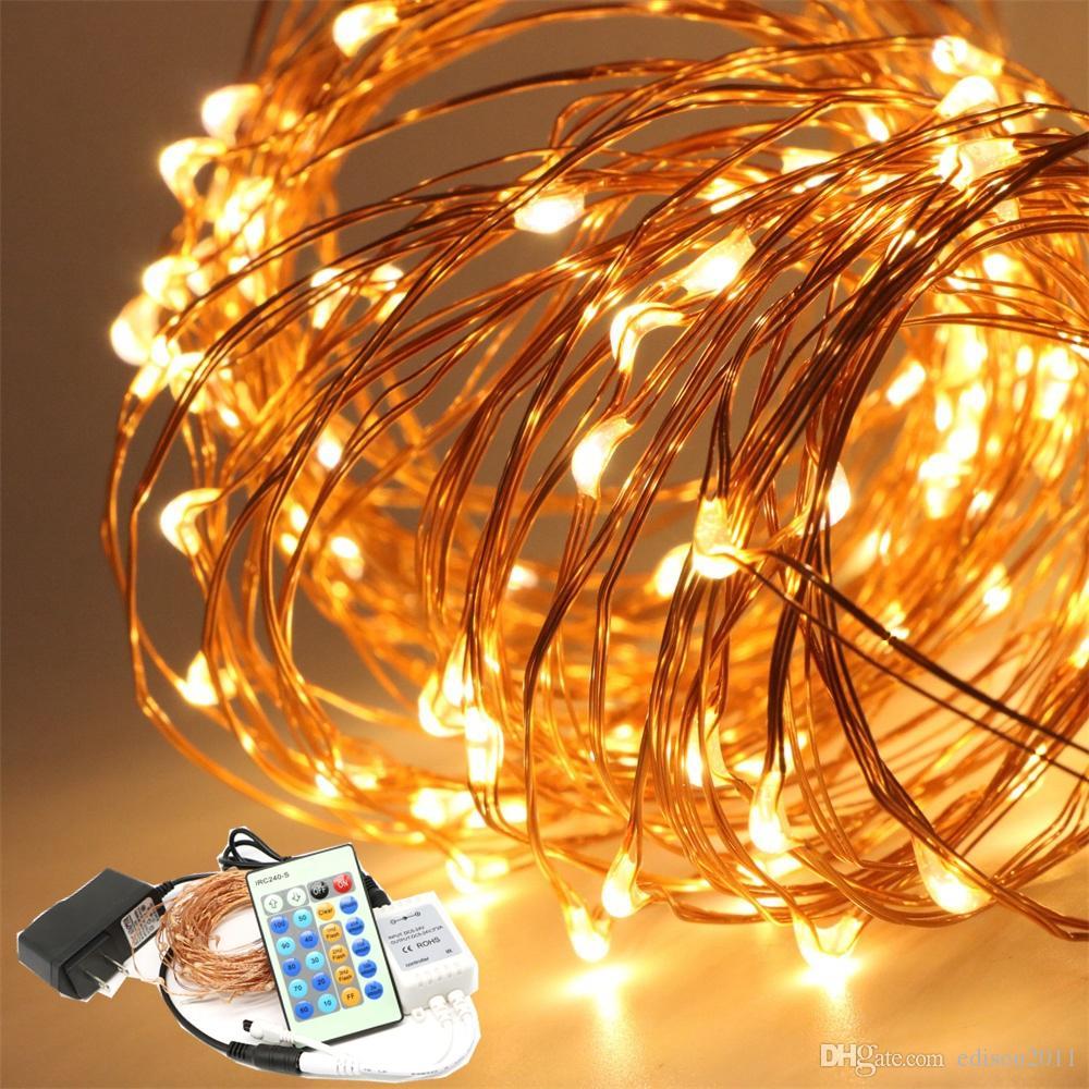 Luzes de Natal de Controle Remoto Regulável 10 m 100 LED Fio de Cobre LEVOU Luz Da Corda Luzes Estreladas Luzes Do Feriado