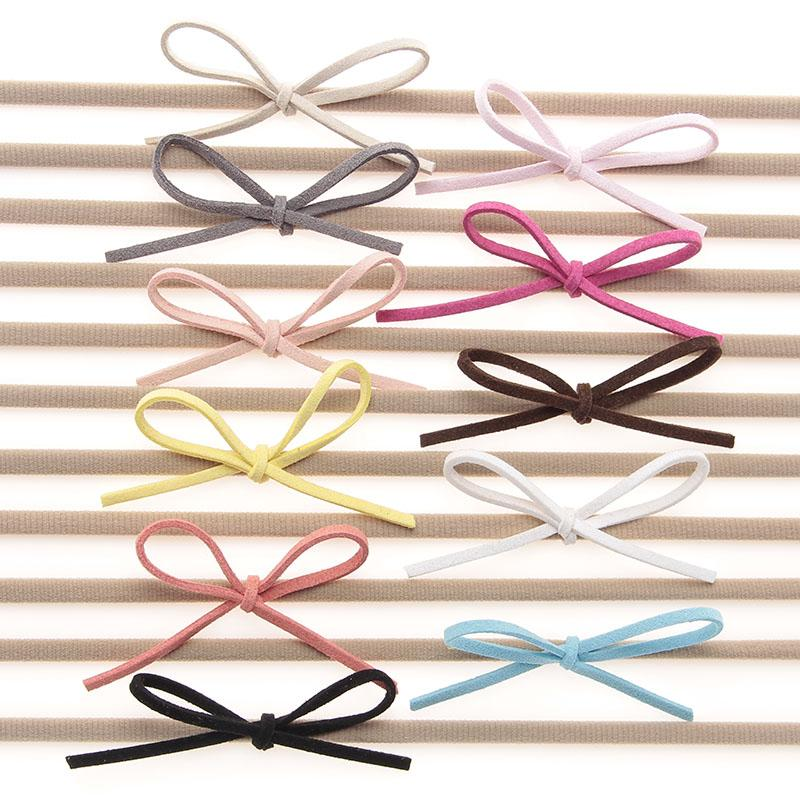 Baby Nylon Elastic Headbands Bow Kids Girls DIY Bowknot Hairbands Children Hair Accessories Simple cute headwear 22 Color KHA87