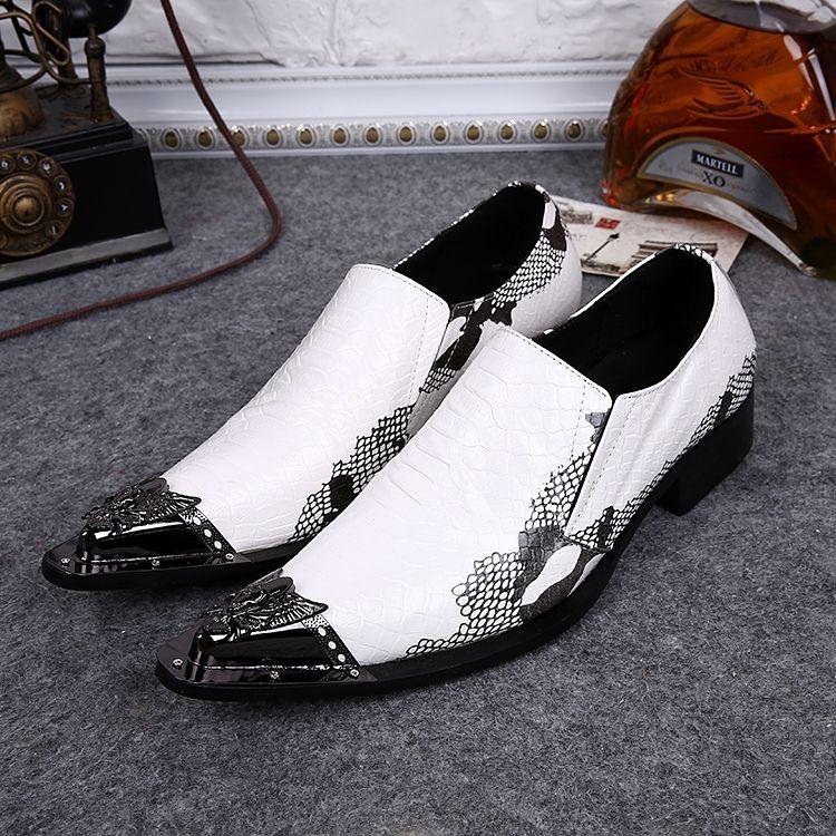 Weihnachtsfeier Chaussure Homme White Snake Print Metall Toe Oxford Schuhe für Männer Kleid Schuhe zapatos italianFormal Schuhe Hochzeit