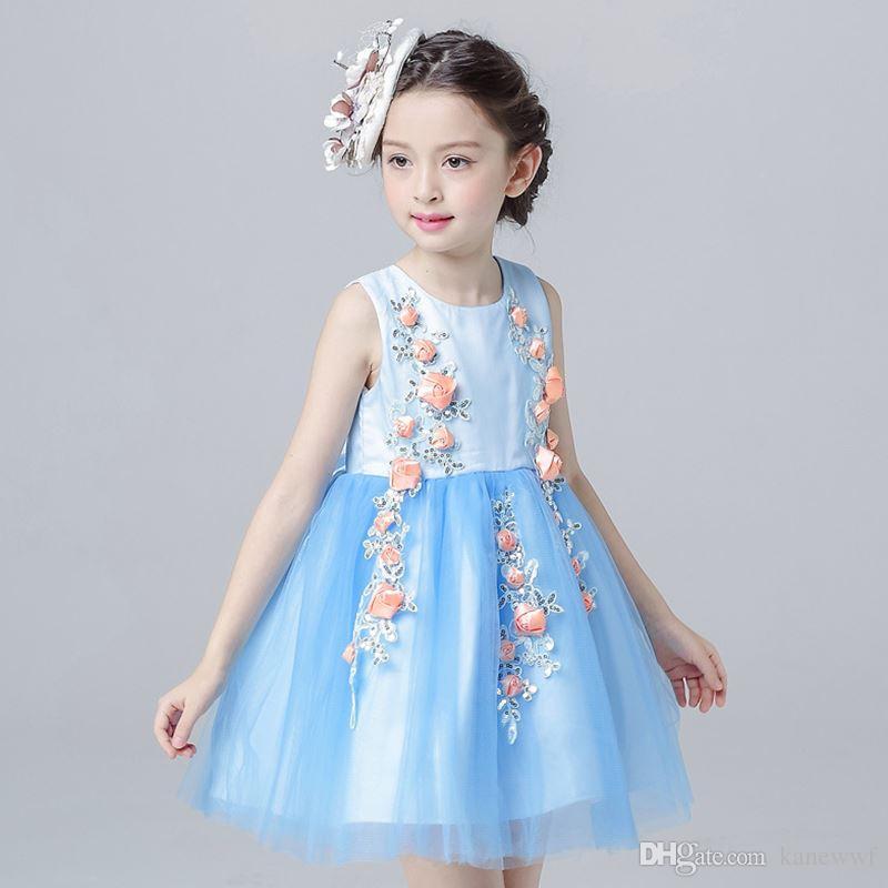 Estate 2017 New Princess Birthday Party Dress 4-12T Blue Color Flower Girls Dress per abbigliamento per bambini per ragazze per ragazze adolescenti