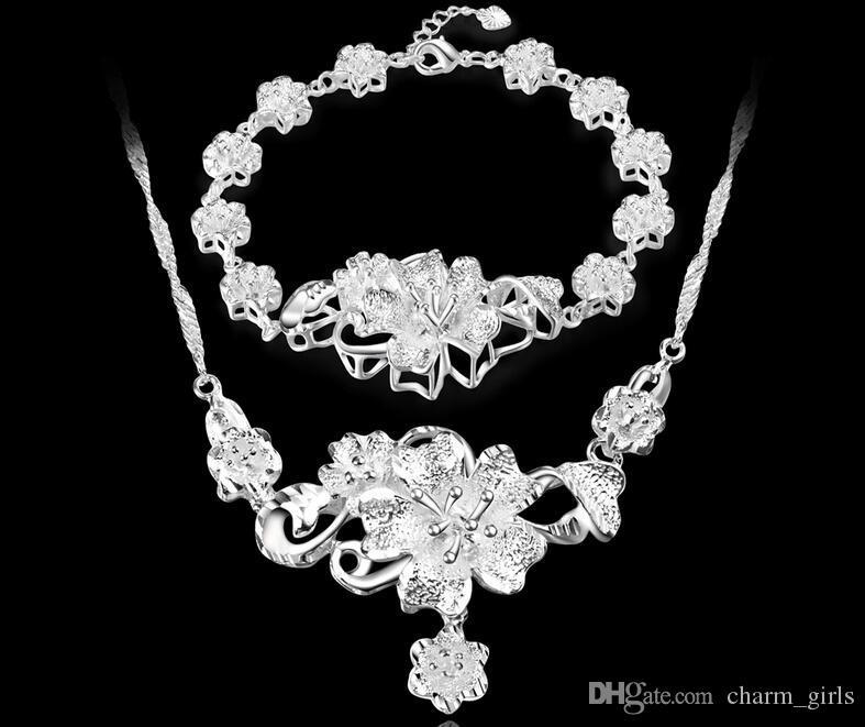 2017 New fashion Mark 925 silver platings 3D FLOWER Necklace Bracelet woman wedding Rose bracelet necklace Jewelry Set