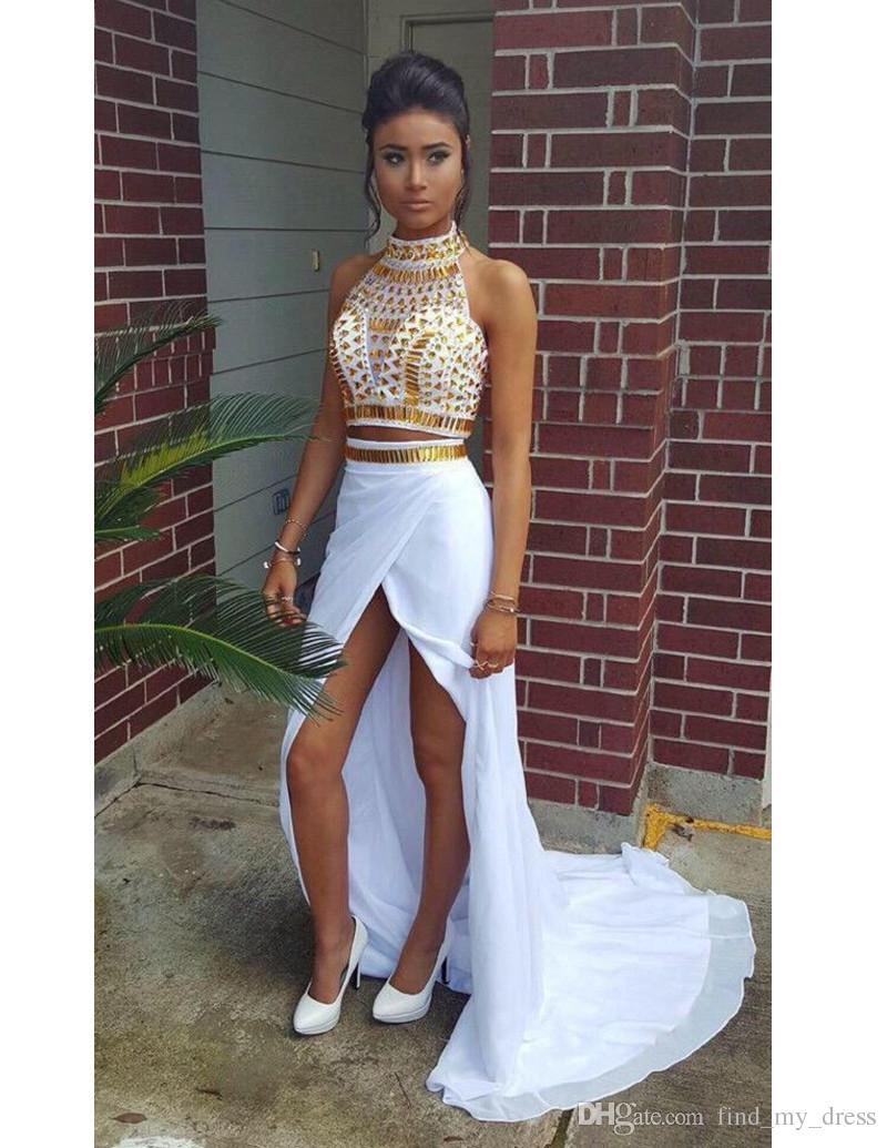 Yeni Seksi Tasarım 2 Parça Gelinlik Yüksek Boyun Altın Kristaller beyaz Şifon Ön Yarık Parti Abiye giyim Robe de Soiree Custom Made