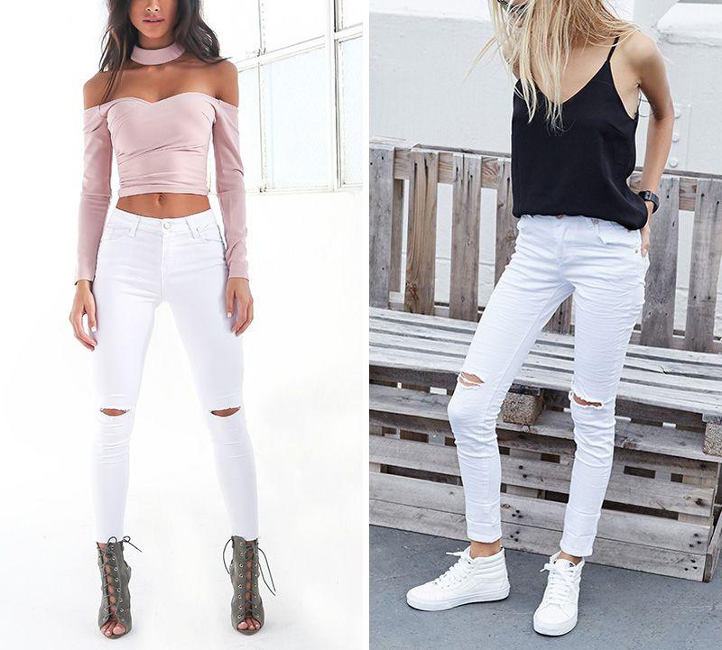 2017022537 Verão estilo buraco branco jeans rasgado Mulheres jeggings denim legal calças de cintura alta capris Feminino skinny jeans casual preto