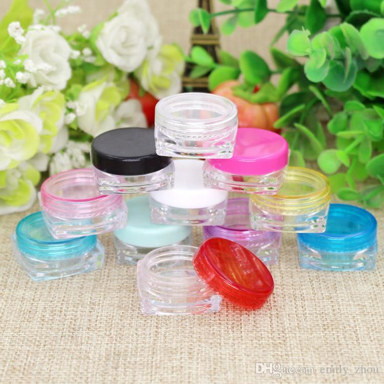2g X 200 PS kare alt boş Krem Kavanoz, Kozmetik Konteyner, Örnek Kavanoz, Vitrin, Kozmetik Ambalaj, 2g Mini plastik şişe küçük teneke