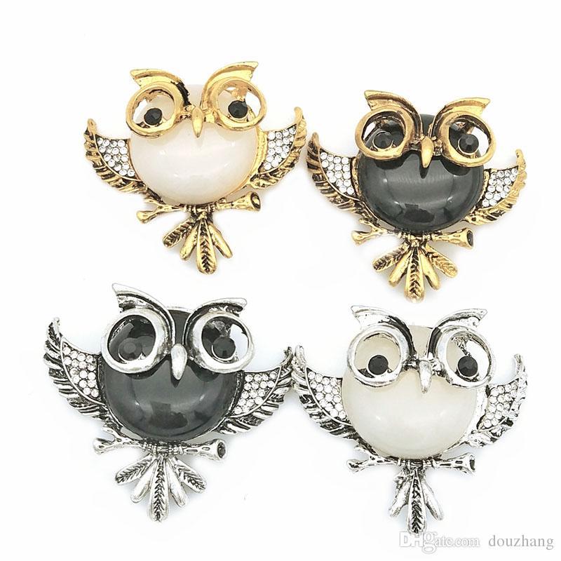 Vintage Rhinestone Acrylic Gem Bird Owls Brooches Antiques Owl Hijab Pin Up Wedded Broach Scarf Clips Jewelry Lot 10 Pcs
