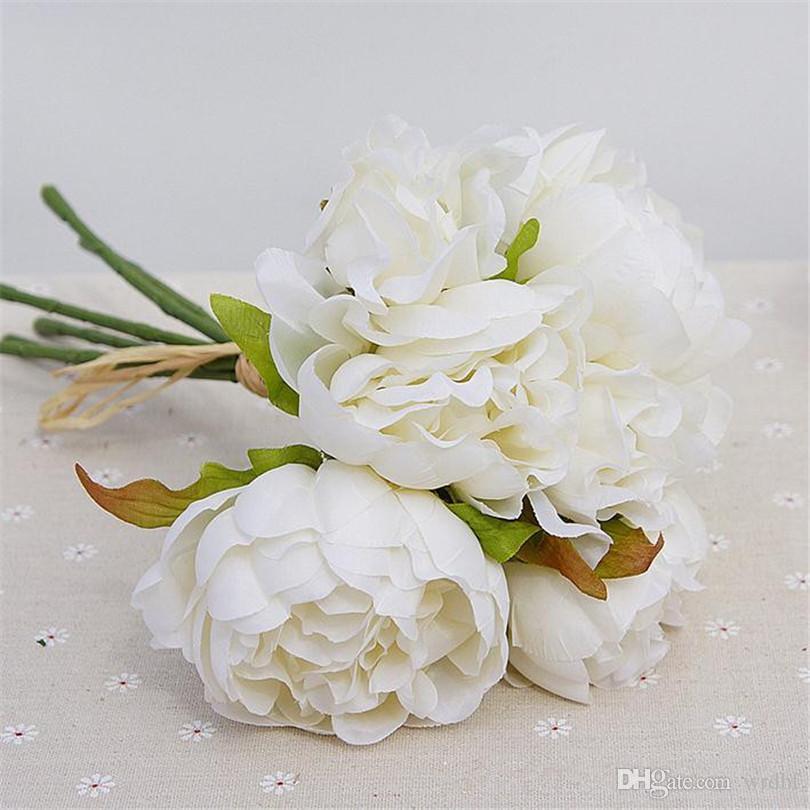 """가짜 모란 신부 꽃다발 26cm / 10.24 """"결혼식 꽃 홈 쇼케이스에 대 한 길이 인공 Peonia 크리스마스 장식 꽃"""