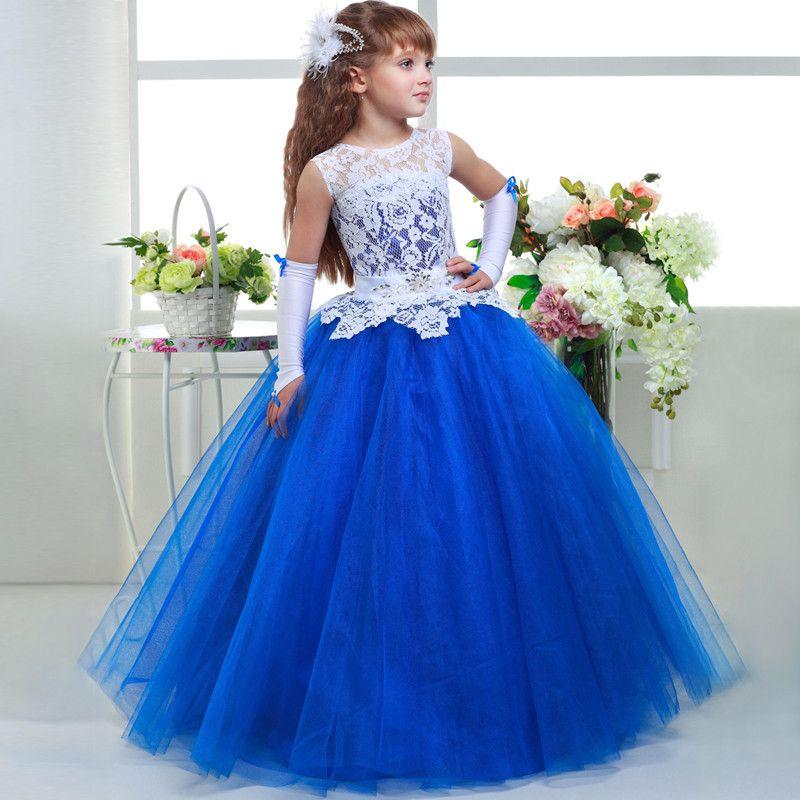 Vestiti blu dalla ragazza del fiore di lusso 2017 nuovi vestiti di graduazione bambini Merletto di scollo rotondo del merletto Vestito da prima comunione per il concorso delle ragazze