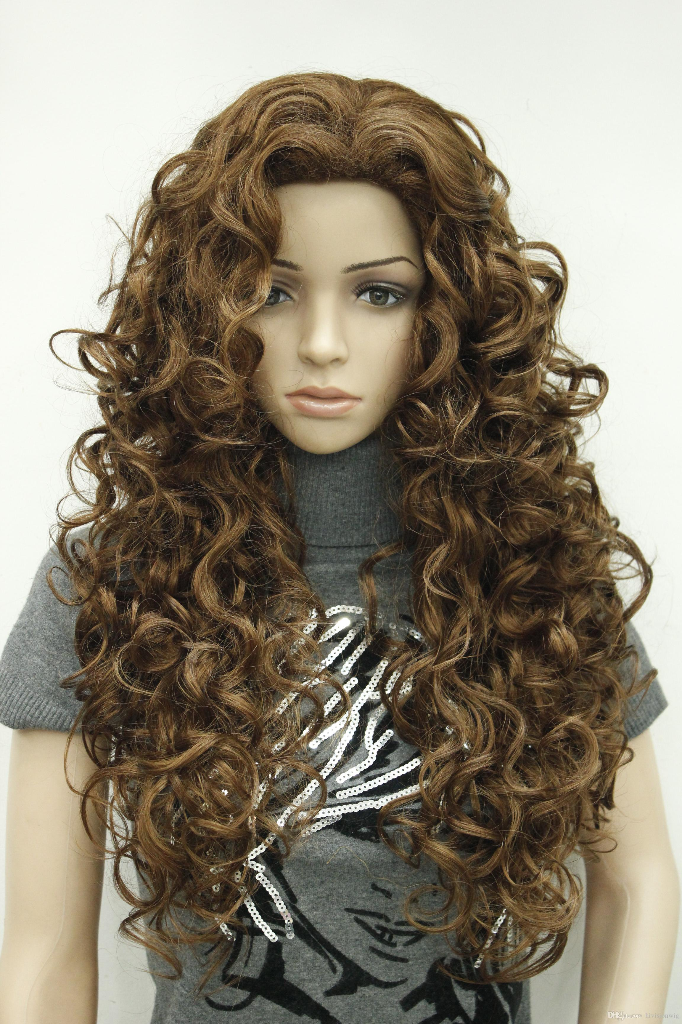 New super hot fashion sexy charming Medium Auburn long curly woman's full thick wig free shipping