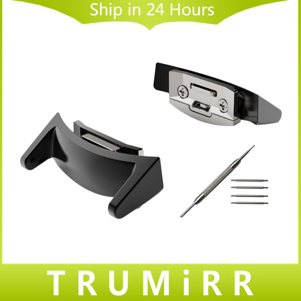 Samsung Gear S2 SM-R720 / R730 Siyah Altın Gümüş + Aracı Toptan-2 Parçalar / Lot İzle Band Adaptörü 20mm Kayış Bağlayıcı Paslanmaz Çelik