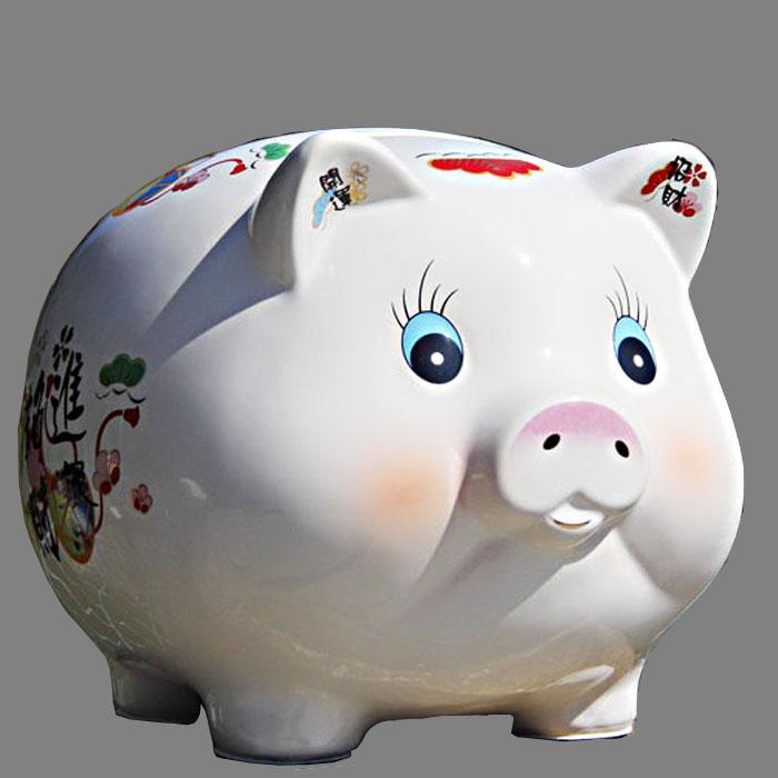 The oversized ceramic coin cylinder piggy bank size not only into the children's Day gift felicitous wish of making money piggy bank