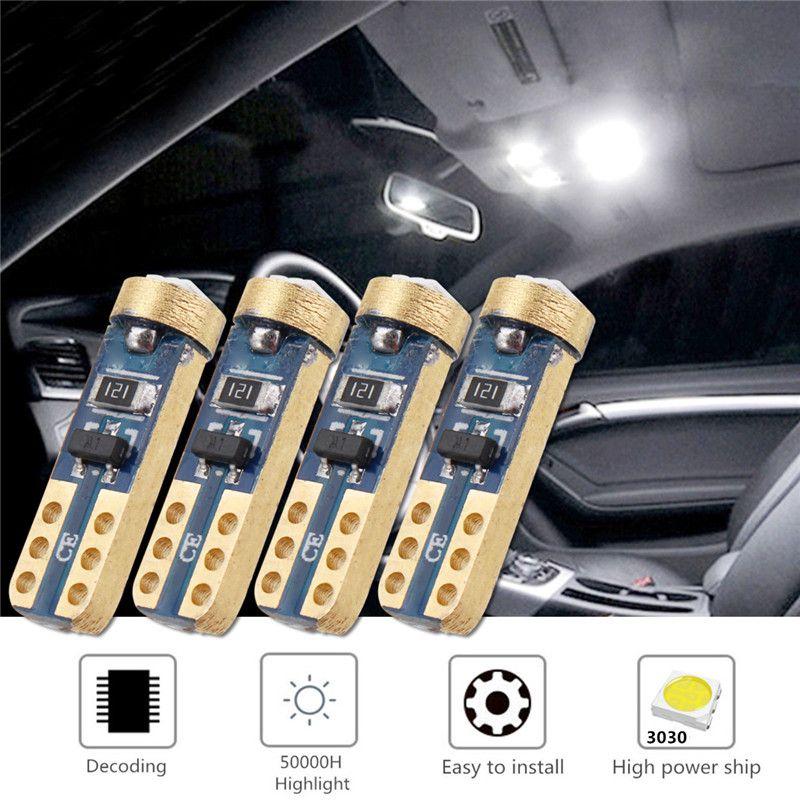 10 unids Canbus Error T5 1 SMD 3030 LED Car Auto Lector de Luz de La Lámpara de La Lámpara de Tablero de Tablero de la Lámina Instrumento Blanco Car Styling