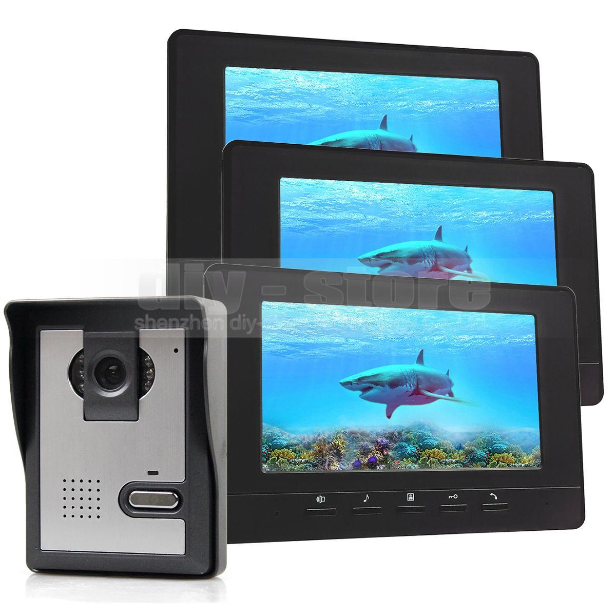 7inch Video Intercom Video Türsprechanlage Türklingel IR Nachtsicht Kamera 3 Monitore 800 x 480 Schwarz