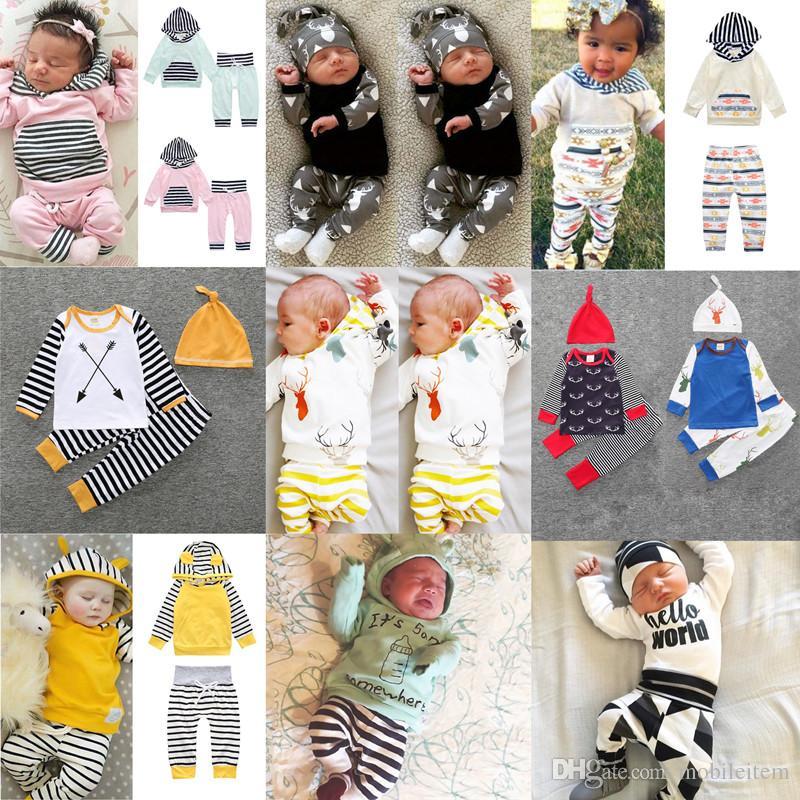 boutique niños ropa niños bebés Pantalones de mameluco traje de dos piezas niño y niñas conjuntos de ropa Flores rayas 929