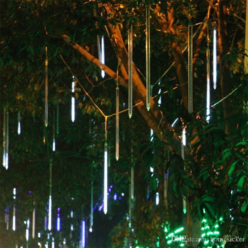 30cm lumières 60cm / 36led lumières 80cm / 48led lumières 100cm météore pluie lumière de Noël ornement de fées de fée de mariage clignotant LED lumières