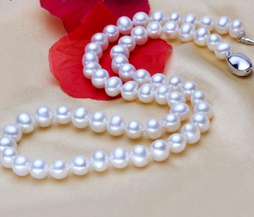 7-8mm Südsee natürliche weiße Perlenkette 17 Zoll 925 Silber Verschluss XL-789