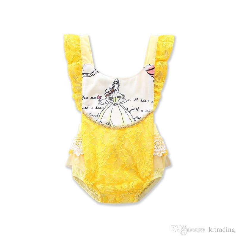유아 소녀 backless 레이스 장난 꾸러기 노란 레이스 splicing onesie 공주 인쇄 장난 꾸러기 1-3T에 대한 뜨거운 아기 여름 의류
