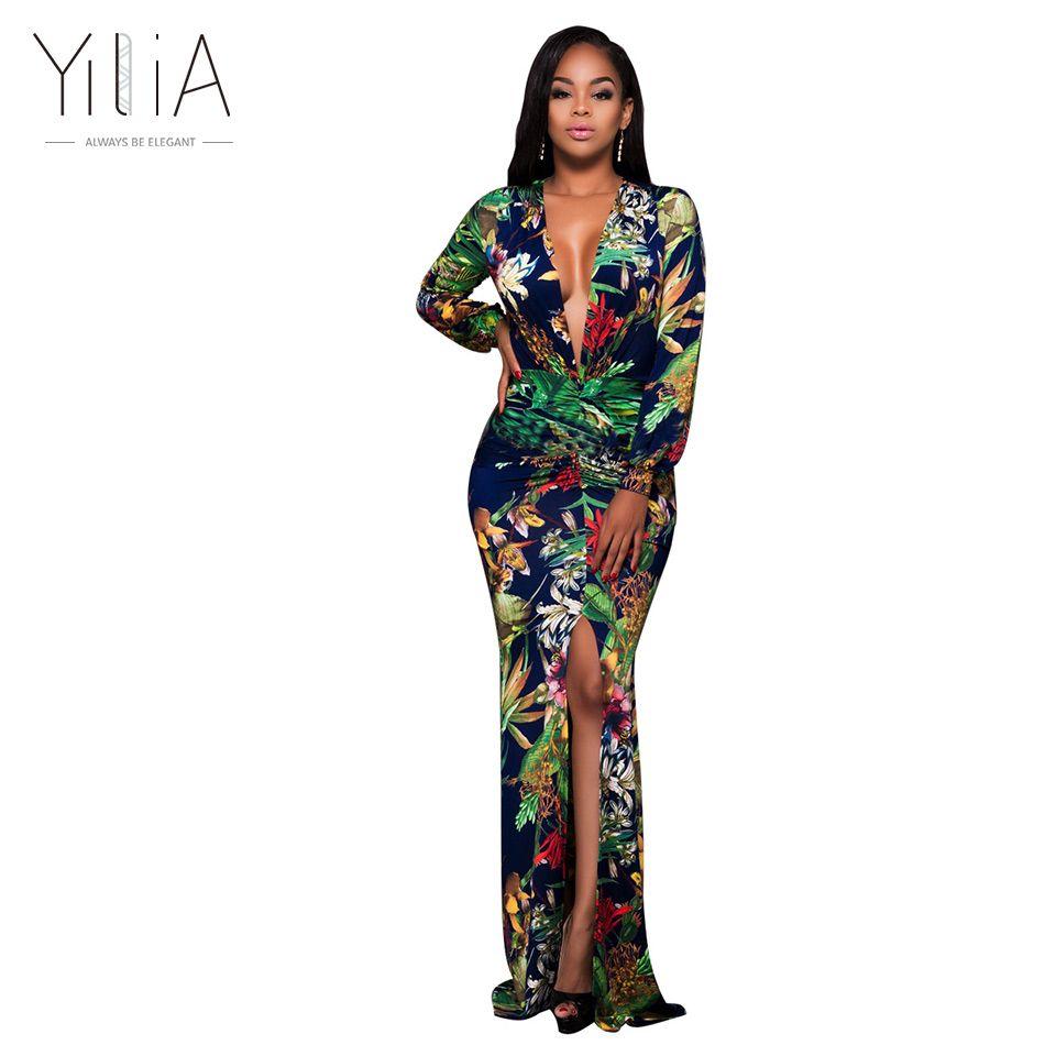 Yilia 섹시 아프리카 인쇄 꽃 긴 맥시 드레스 패턴 긴 랜턴 슬리브 여름 2017 여성 비치 분할 깊은 V 층 길이 q171125