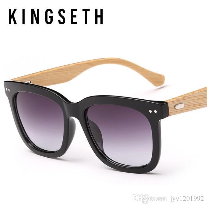 KINGSETH 2017 Nouvelle Arrivée Véritable Édition de Bambou Carré lunettes de Soleil Pour Hommes Femmes Partie De Mode Lunettes de Soleil Classique Casual Lunettes UV400