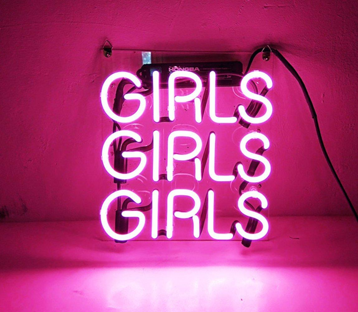 """Birra Neon Sign Pink Girls per la casa Camera da letto Pub Hotel Beach Recreational Game Room Decor 12 """"x 9,8"""""""