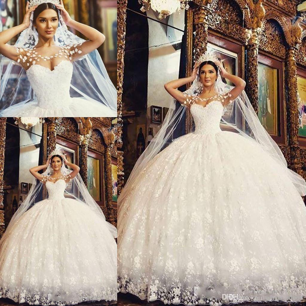 2018 new arabic lace ball gown princess wedding dresses scoop sheer neck  floor length appliques plus size garden bridal gowns amazing wedding  dresses