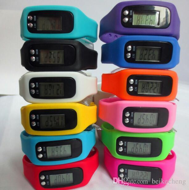100 unids / lote Mix 12Colors moda Digital LCD podómetro Paso de paso Distancia de calorías Contador de reloj pulsera LED Podómetro Relojes LT021