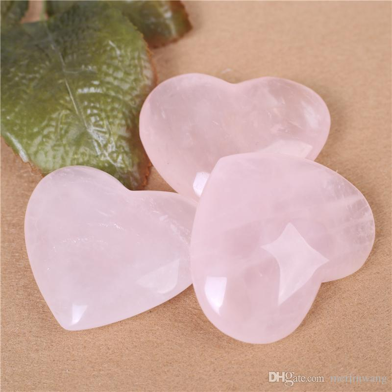 1PC HJT 59mm Natural Rose/Pink Quartz crystal Heart Carving Craft Stone Chakra Healing Reiki Stones Lover gife stone crystal Heart