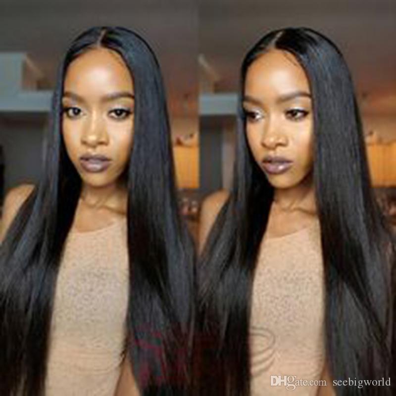 Cheveux longs et lisses cheveux brazilian humaine africaine Ameri Simulation longue et soyeuse perruque noire droite avec une partie de milieu en stock