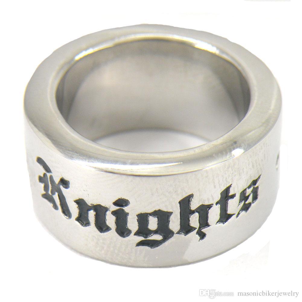 FANSSTEEL mens acciaio inossidabile dei monili dell'annata cavalieri massonici templari croce anello massonico regalo per fratelli muratori sorelle FSR11W46