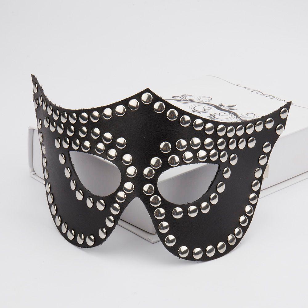 Cuir PU clouté masque de reine, sexe fétiche bdsm bondage contraintes masque masque jeux adultes jouets sexuels pour couples intimes produits du sexe 0701