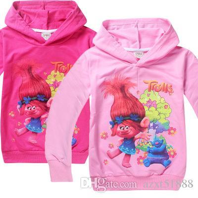 3-10 лет девушки толстовки толстовка детская одежда Рождество топы тролли дети футболки длинные пиджаки рукава одежда куртка
