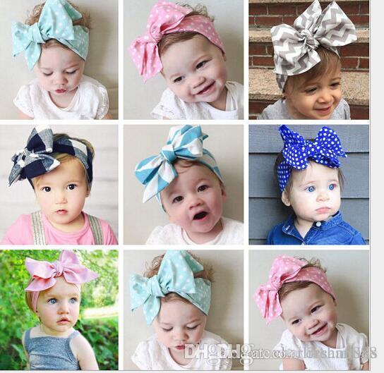 Sevimli Bebek Kız Headwraps Üst Düğüm Nokta Büyük Yay Bandı Çocuk Bebekler DIY Şapkalar Türban Kız Saç Aksesuarları