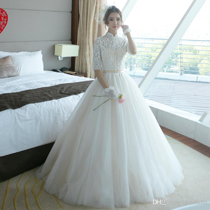 Noble High Neck Tulle Half Sleeve Lace Button Long Wedding Dresses 2017 Appliques Bead Lace Up Ball Gown Floor Length Dress Ball Gown Wedding Dress ...