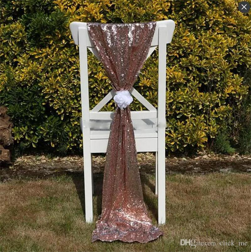 Dimensioni 50 * 200 cm oro con paillettes sedia da sposa telai senza fiore Custom Made Wedding Party Decor abbagliante sedia archi copertine sedia nastro