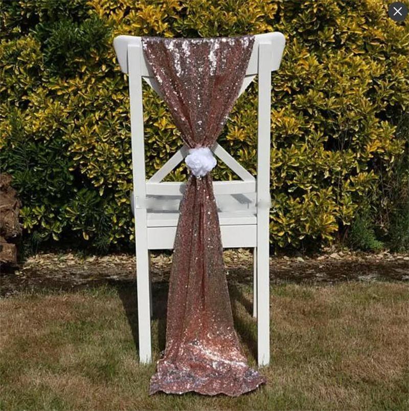 크기 50 * 200 cm 골드 스팽글 웨딩 의자 꽃없이 맞춤형 웨딩 파티 장식 눈부신 의자 리본 활 커버 리본