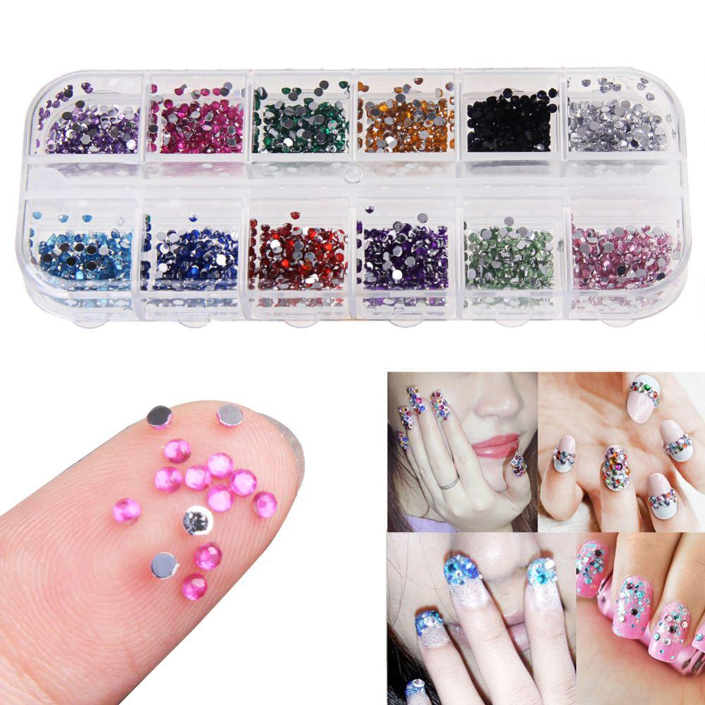 Colorful Beauty Nail Rhinestone Decorations 15mm Round Glitters With Hard Case Diy Nail Art Diamonds Decoration Tools Foil Nail Art Nail Decorations