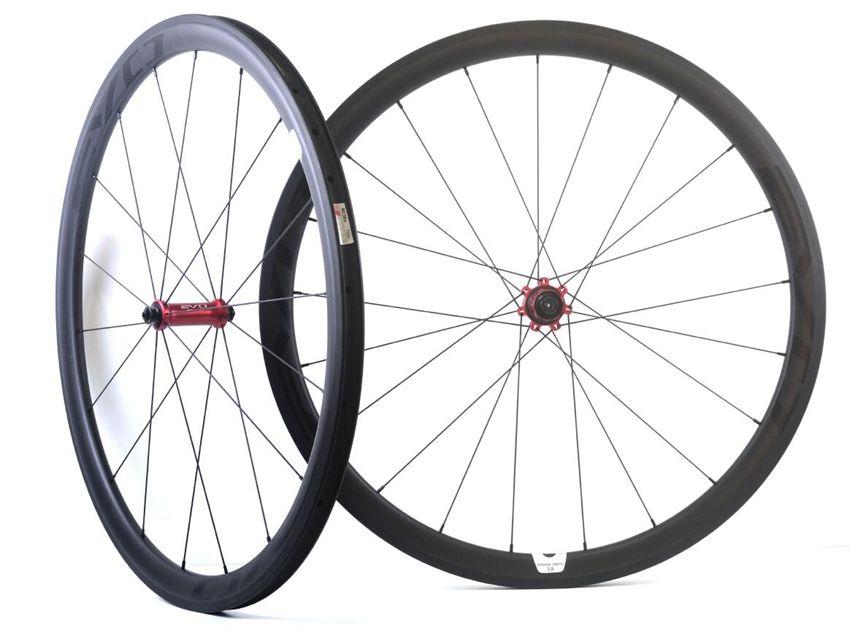 700C 38MM عمق 25MM عرض عجلات الكربون الطريق دراجة العجلات الكربون أنبوبي مع EVO محور سحب مستقيم ، حافة U الشكل