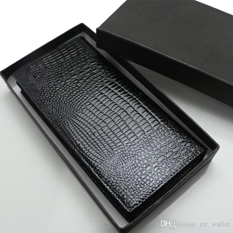 Da Uomo Vera Pelle Nera Porta Carte di credito in una scatola regalo nera-NUOVO